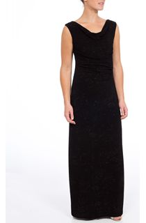 Sleeveless Sparkle Cowl Neck Maxi Dress