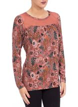 Floral Printed Jersey and Mesh Long Sleeve Top