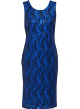 Wave Sequin Sleeveless Midi Dress