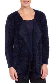 Feather Knit Long Sleeve Open Cardigan - Blue