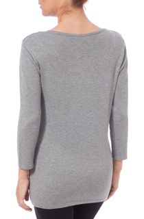Anna Rose Floral Knit Three Quarter Top - Grey Melange