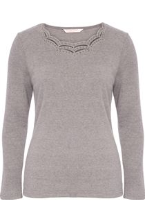 Anna Rose Long Sleeve Embellished Top - Grey Melange