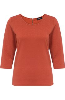 Textured Round Neck Jersey Top - Red