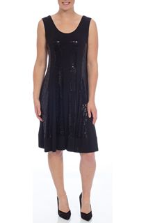 Sequin Panelled Sleeveless Midi Dress