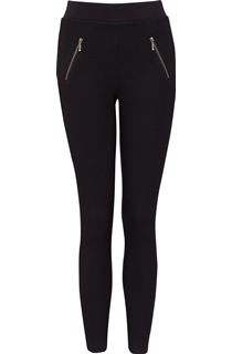 Pull On Textured Stretch Treggings - Black