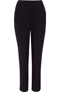 Tapered Leg Sparkle Stretch Trousers - Black