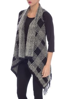 Eyelash Knit Gilet - Black/Ecru
