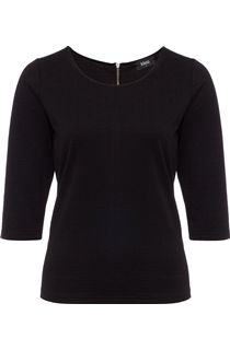 Textured Round Neck Jersey Top - Black