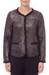 Snake Skin Effect Long Sleeve Knit Jacket