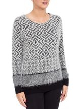 Monochrome Design Eyelash Knit Top