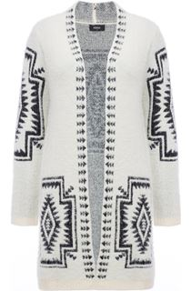 Aztec Long Open Feather Knit Cardigan