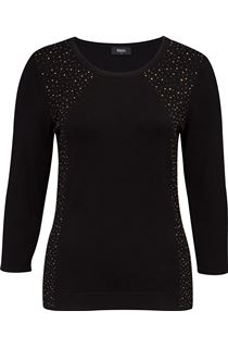 Embellished Three Quarter Length Sleeve Knit Top