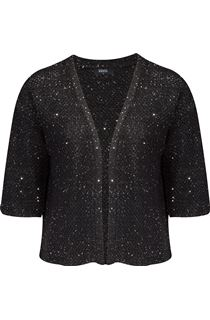 Drop Shoulder Sequin Knit Cover Up