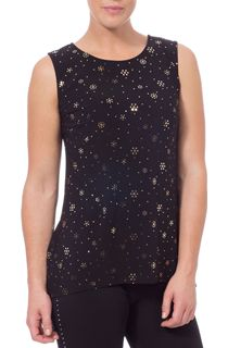 Dip Hem Sleeveless Sparkle Stretch Top