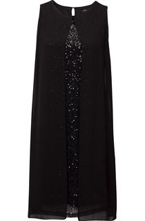 Sleeveless Sequin And Chiffon Layer Midi Dress
