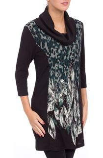 Cowl Neck Panel Knit Tunic