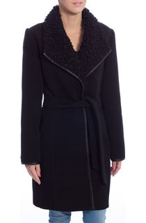 Faux Leather Trim Self Tie Coat
