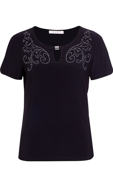 Anna Rose Short Sleeve Diamante Jersey Top