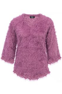 Fringed Feather Knit V Neck Top - Purple