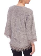 Fringed Feather Knit V Neck Top