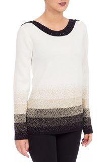 Anna Rose Sparkle Knit Top - Ivory/Gold