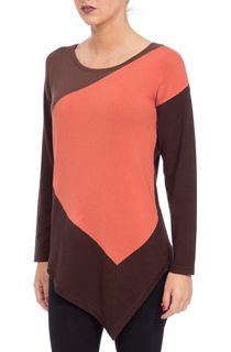 Dipped Hem Colour Block Knit Top - Choc/Paprika