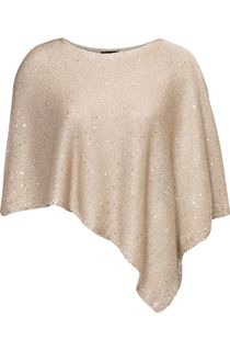 Sequin Knit Poncho - Metallic