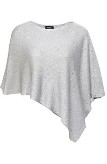 Sequin Knit Poncho - Silver