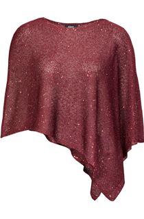 Sequin Knit Poncho - Claret