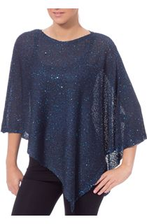 Sequin Knit Poncho - Midnight