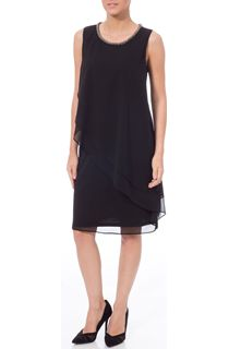 Embellished Layered Georgette Sleeveless Midi Dress - Black