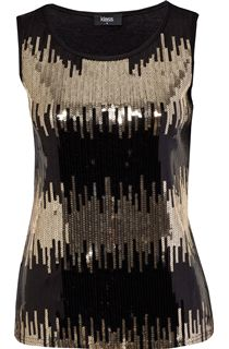Sleeveless Sequin Top - Black/Gold