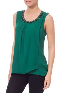Embellished Sleeveless Layered Chiffon Top - Emerald