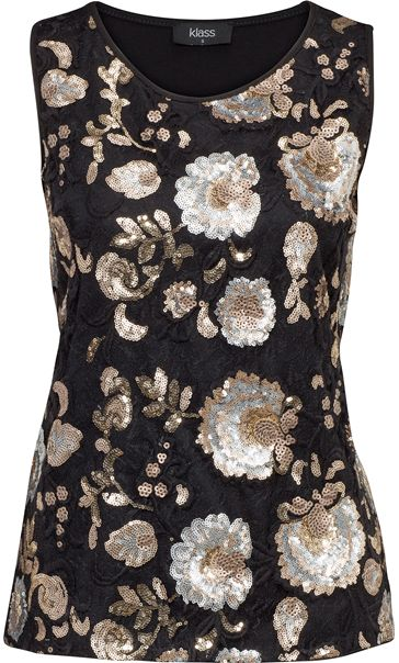 Floral Sequin And Lace Sleeveless Top