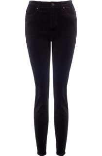 Slim Leg Stretch Cord Trousers - Black