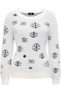 Monochrome Snowflake Eyelash Knit Christmas Top