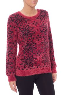 Snowflake Design Eyelash Knit Christmas Top