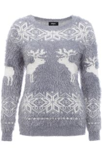 Snowflake And Reindeer Eyelash Knit Christmas Top