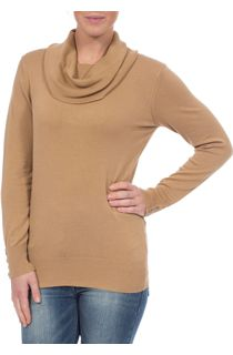 Everyday Cowl Neck Knit Top - Camel