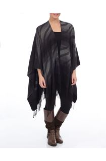 Tassel Trim Wave Design Shawl