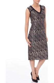 Sparkle Animal Design V Neck Midi Dress