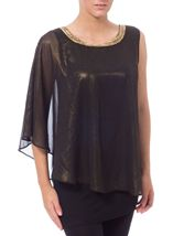 One Sleeve Layered Embellished Shimmer Top