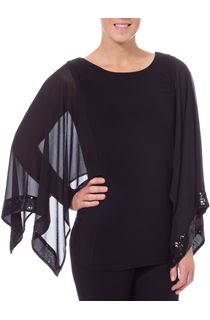 Sequin Trim Chiffon And Jersey Top