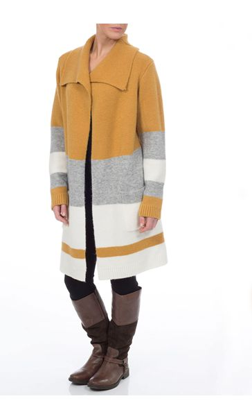 Colour Block Knitted Open Coatigan
