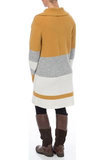 Colour Block Knitted Open Coatigan - Multi