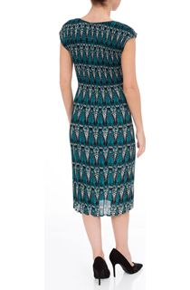 Pleated Print Midi Dress