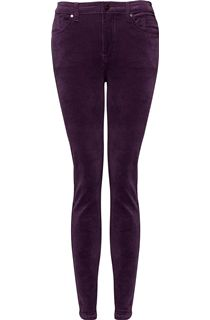 Slim Leg Stretch Cord Trousers - Aubergine