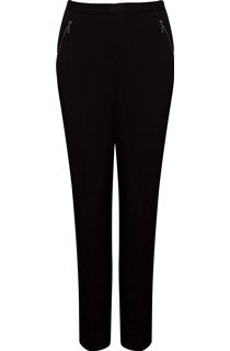 Narrow Leg Zip Pocket Trousers - Black
