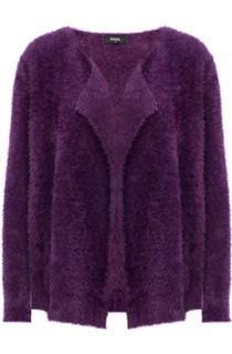 Feather Knit Long Sleeve Open Cardigan - Aubergine