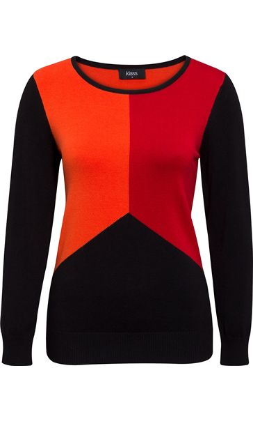 Colour Block Long Sleeve Knit Top